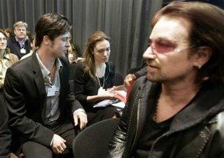 Bono, Brad Pitt y Angelina Jolie
