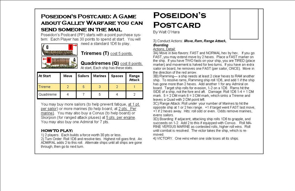 Rules from Poseidon's Postcard