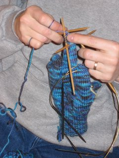 Linda working on glove