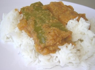 Green pepper curry over rice