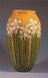 Webb Raku Vase - Stylized Art Nouveau Oleander