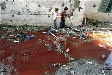 Palestinian children and blood pool