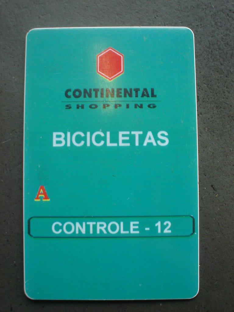 Cartão de acesso para Ciclistas do Continental  Shopping