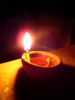 A lamp on the terrace - Diwali