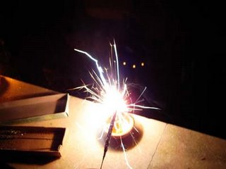 Lighting a sparkler with a lamp - Diwali