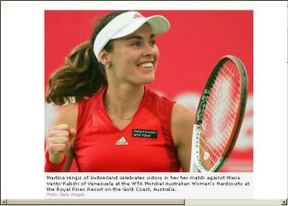 Martina Hingis of Switzerland against Maria Vento-Kabchi of Venezuela at the WTA Mondial Australian Photo: Getty Images