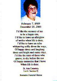 The prayer card from my grandmother's funeral. Tha… – Spewing ...
