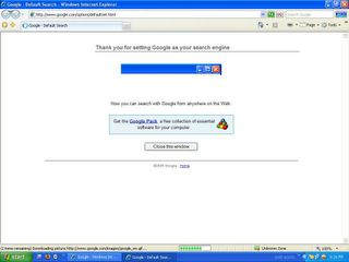 Google Search Engine Option in IE7