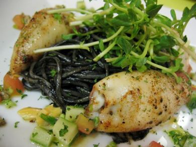 squid ink pasta with stuffed squid
