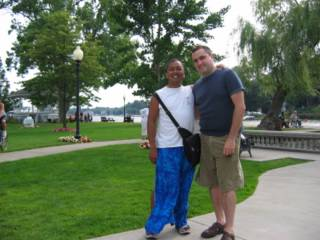 Arnie and me along the Saugatuck Boardwalk