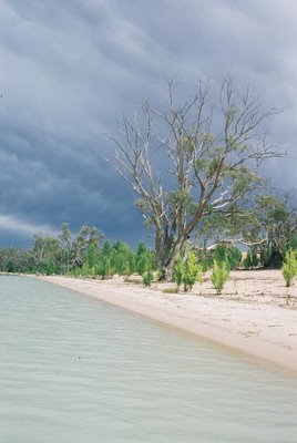 Moody sky beside a lake