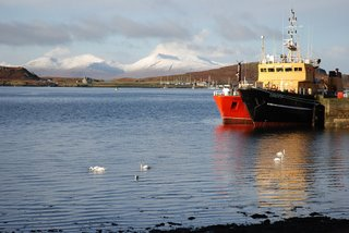Snow on Mull from Oban Harbour