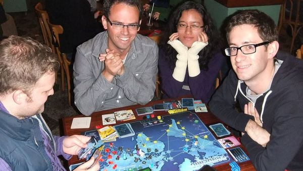 Playing Pandemic at Cafe Games boardgames club