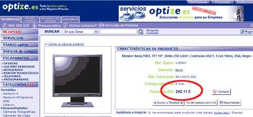 Copia de pantalla de Optize, precio 250 euros