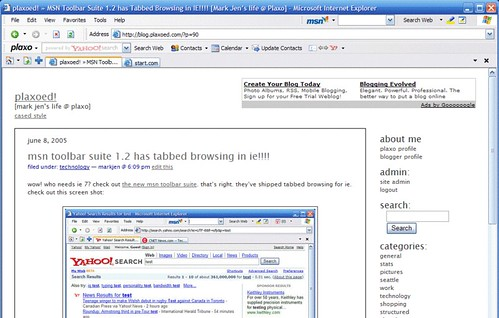 IE with Tabbed Browsing