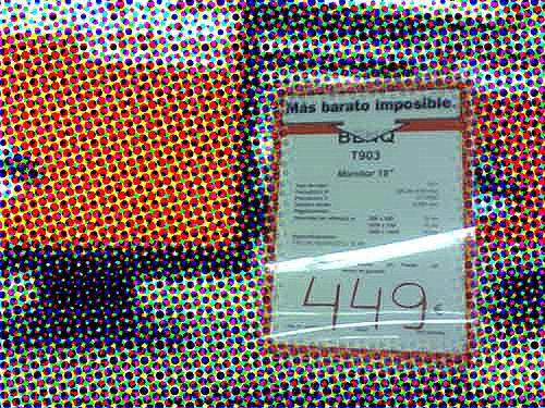 Foto de un cartel que pone el precio del articulo, 449 euros