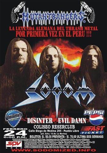 Afiche concierto Sodom 2005 Peru