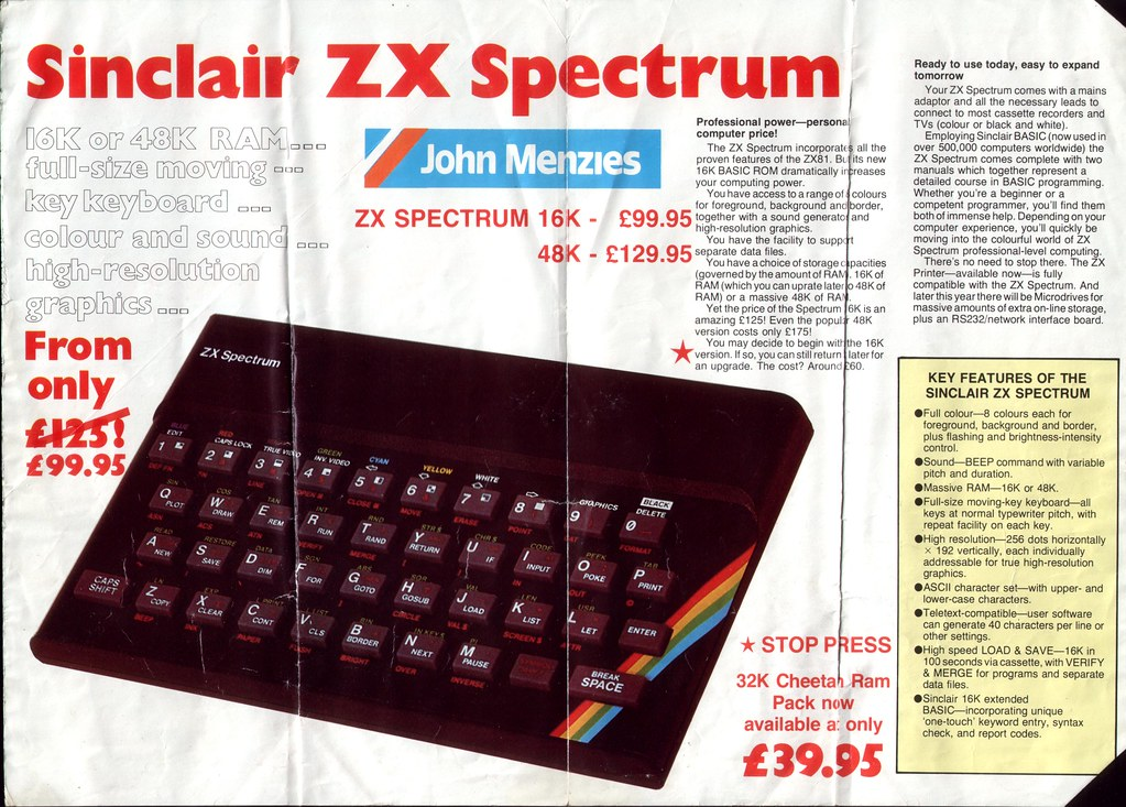 Flyer for ZX Spectrum from Lost Boy Blog