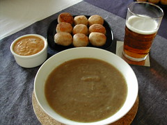 Aubergine soup with red pepper cream