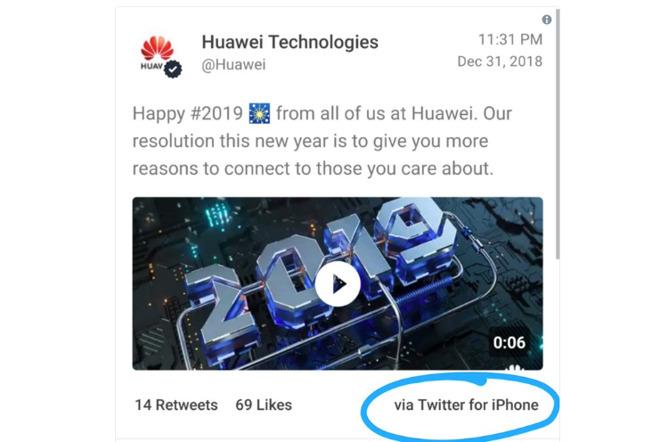 Image result for Huawei worker tweet using iphone