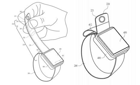 Иллюстрация датчика камеры в конце ремешка, кнопки и того, как ее можно установить рядом с корпусом Apple Watch
