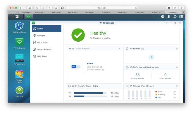 The standard view of Synology's Wi-Fi Connect before adding mesh points