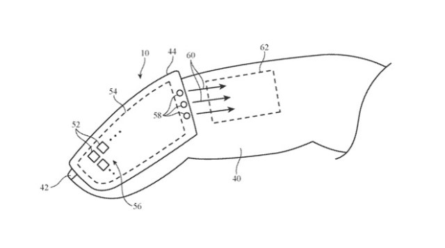 Detail from a patent showing how sensors could be worn on a user's finger.