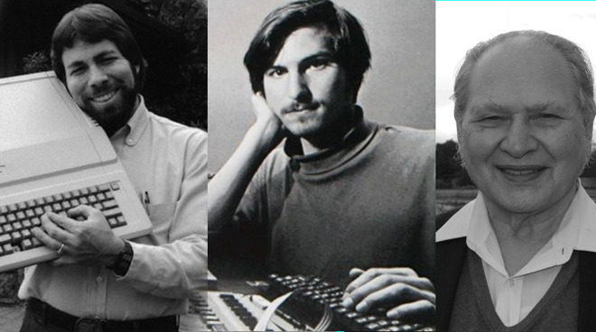 Apple's original founders. L-R: Steve Wozniak, Steve Jobs, Ron Wayne