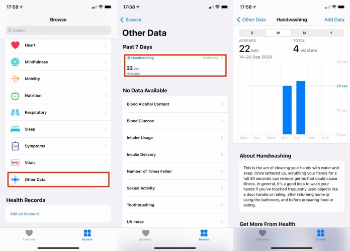 The Health app records how often and for how long you wash your hands.