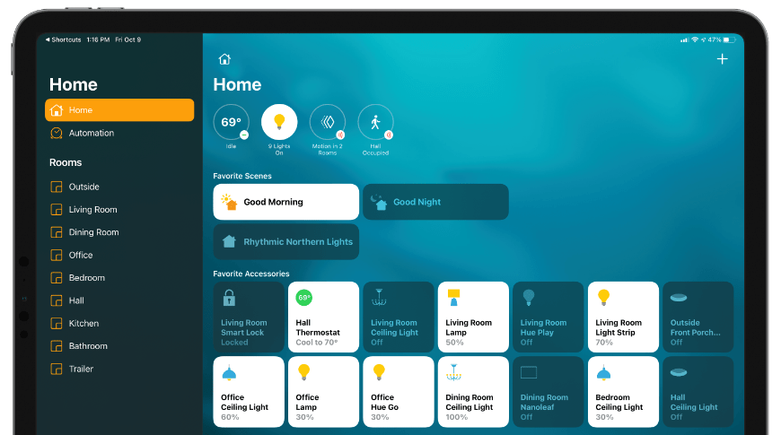 Apple's Home app is the central hub for controlling devices