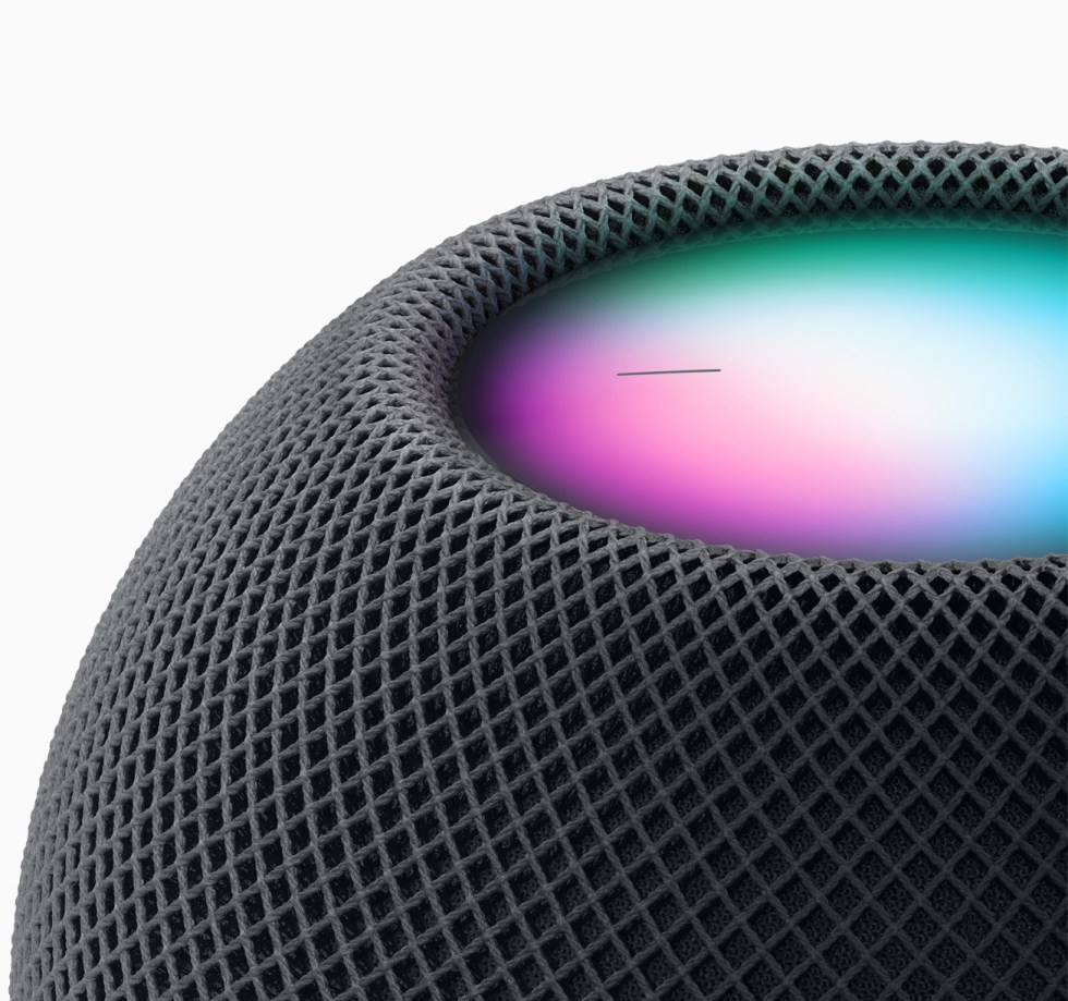 The HomePod mini retains a display, despite its small size.
