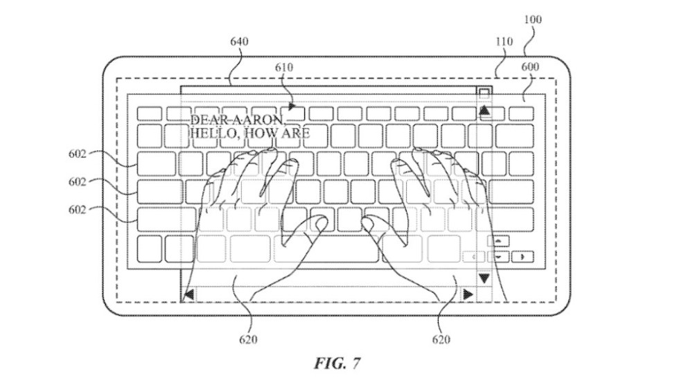 An illustration of the hand transparency effect, which could allow users to better see the keyboard. Credit: Apple