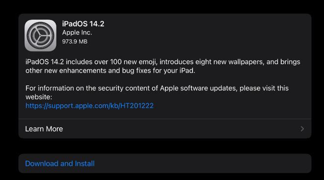 iPadOS 14.2 update