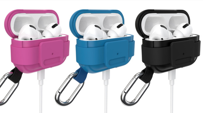 Presidio Clickflip AirPods Pro cases in violet, blue, and black