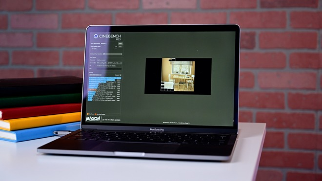 Cinebench R23 running on the M1 13-inch MacBook Pro