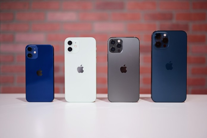 The entire iPhone 12 lineup from the back