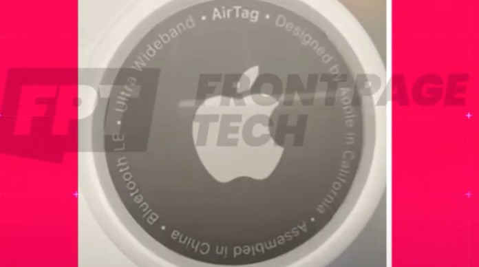 Apple 'AirTags' tracking tool final design shown in animation. Image Credit: Front Page Tech