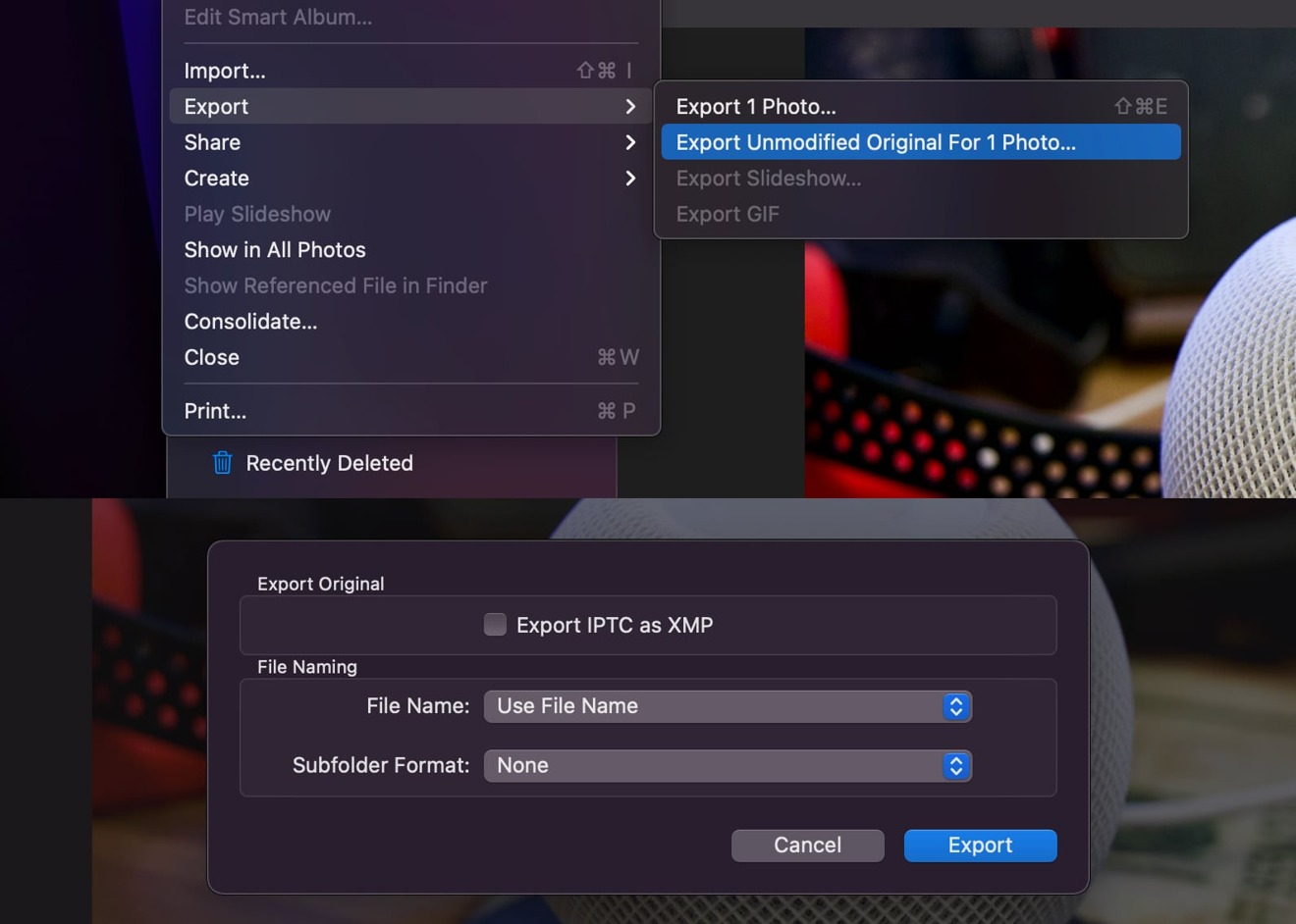 Make sure to use the correct option to export RAW image from Photos