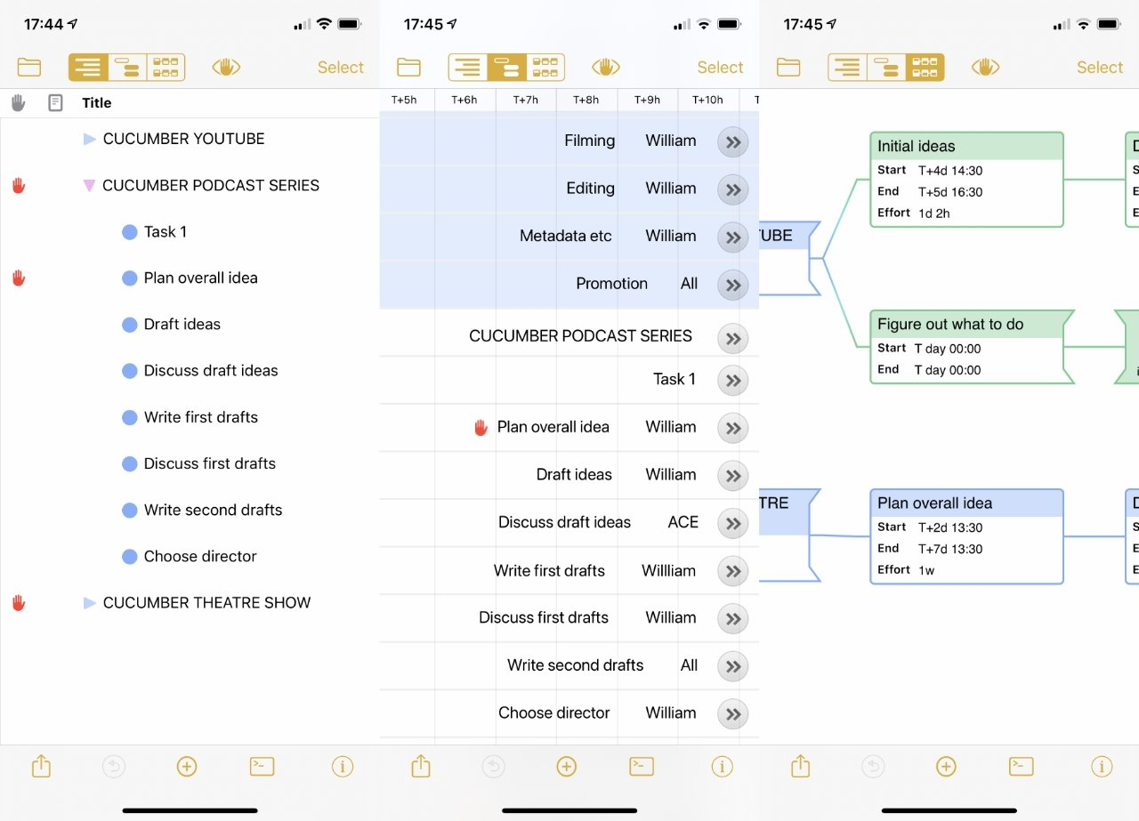 OmniPlan 4 on the iPhone: L-R: outline view, Gantt chart, network diagram