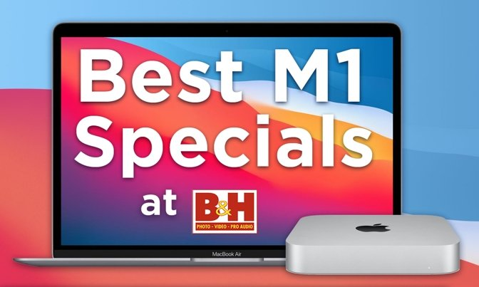 Apple M1 MacBook Air and Mac mini on Big Sur background with B&H logo
