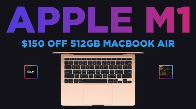 Apple M1 MacBook Air in gold with blue $150 off text