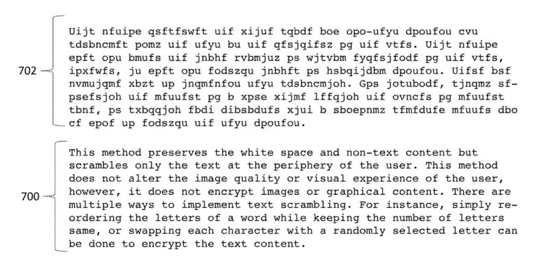An example of how the text on a display could be turned into gibberish, while maintain the same word lengths and letter spacing as the original.