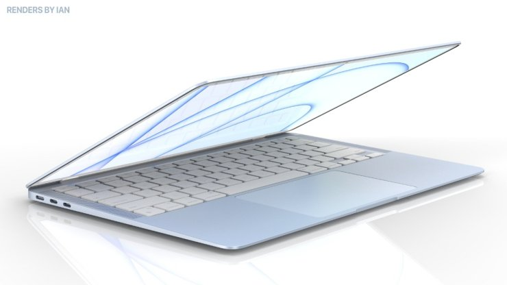 A blue MacBook Air concept Image Source: Renders by Ian