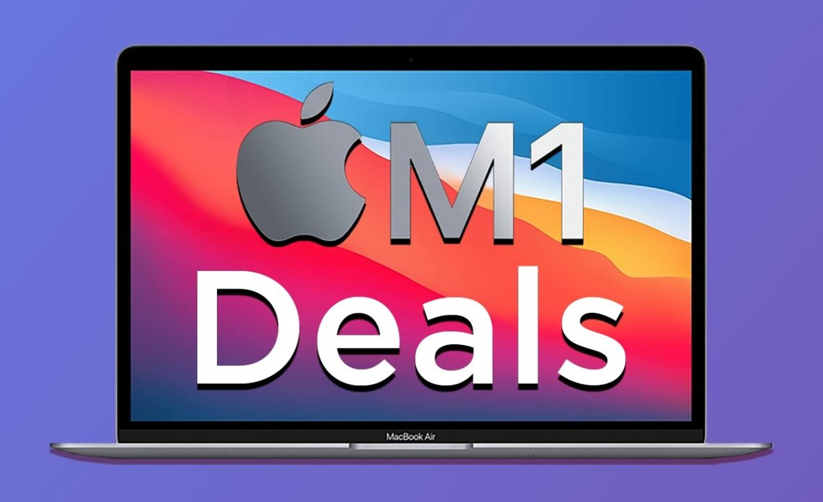 MacBook Air with M1 and Deals text on purple background