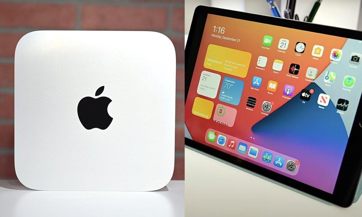 M1 Mac mini with iPad 8th Generation in Space Gray