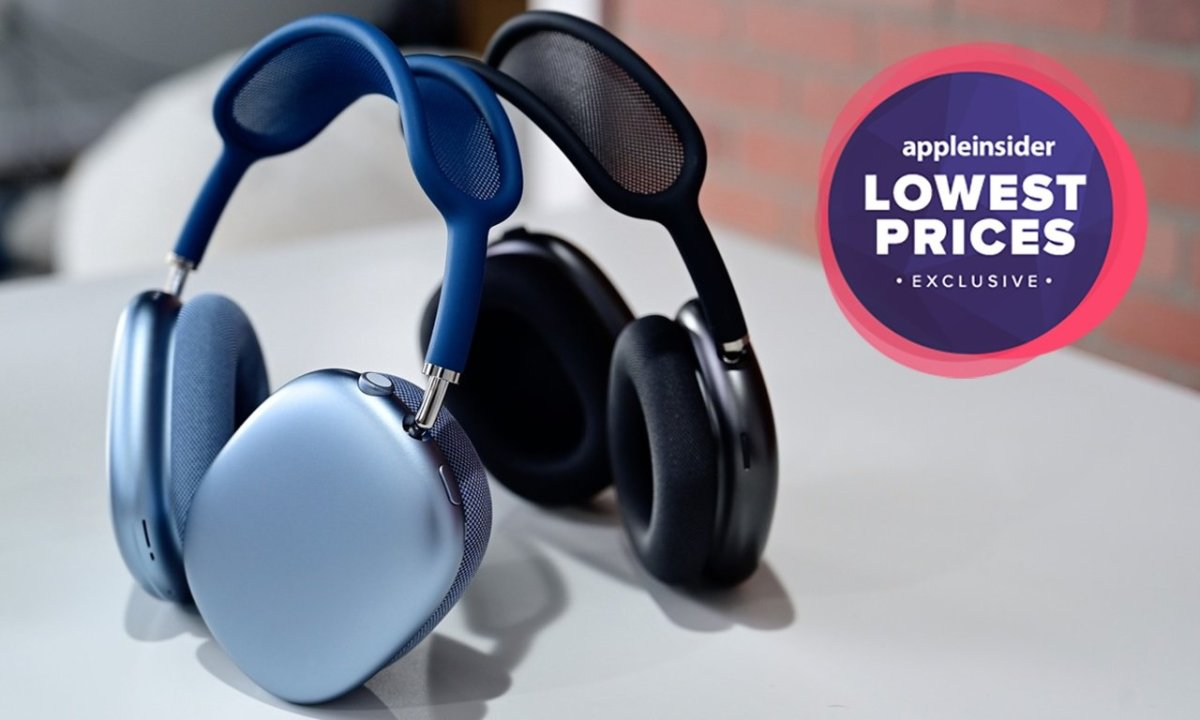 AirPods Max in Blue and Gray with lowest prices badge