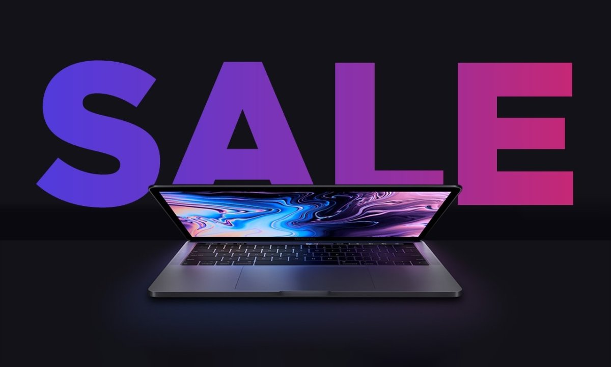 16-inch MacBook Pro half closed with sale text in purple gradient