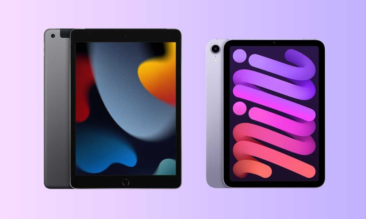 Apple iPad 9th Generation and iPad mini 6 in purple