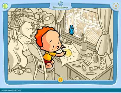 Imagem do inicio da animação Aquarela onde se vê um menino desenhando um sol numa folha de papel. O menino está à janela sobre cujo peitoril um pássaro o observa