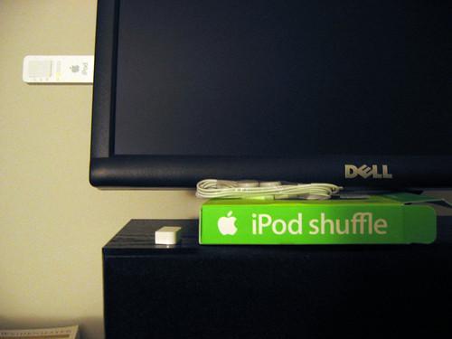 iPod shuffle docked to my Dell 2001FP